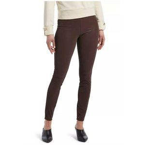 HUE® Textured Faux-Leather Leggings, Brown, XL
